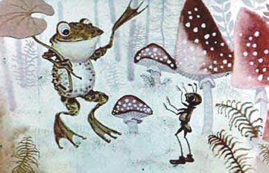 Картинка к Алтайской сказке Скупая лягушка или Почему у муравьев тонкое брюшко
