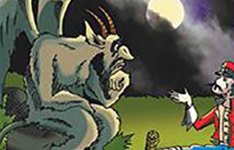 Иллюстрация к сказке Чумазый брат черта