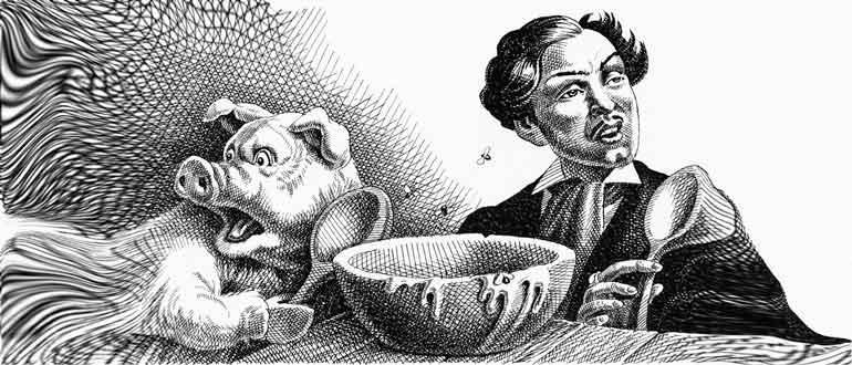 Картинка к сказке М. Е. Салыткова-Щедрина Кисель