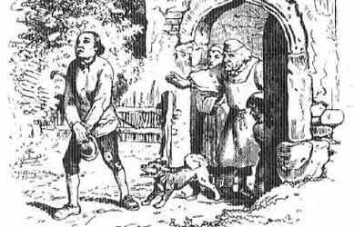 Картинка к сказке Гримм Котомка шляпа и рожок