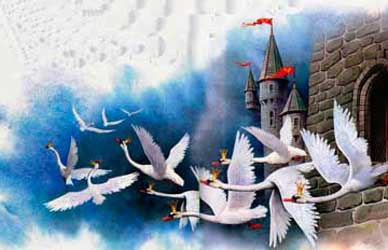 """Картинка к сказке Г.Х.Андерсена """"Дикие лебеди"""""""