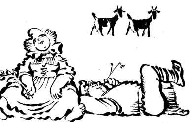 Картинка к сказке Гримм Ленивый Гейнц