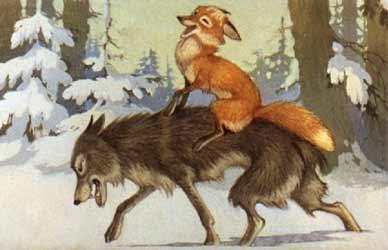 Картинка к сказке Гримм Лис и кума