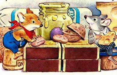 Картинка к сказке Льва Толстого Мышь полевая и мышь городская