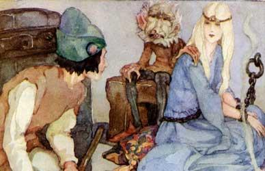 Картинка к сказке Гримм Могучий (сильный) Ганс