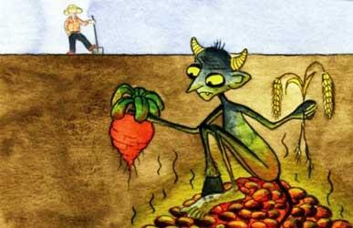 Картинка к сказке Гримм Мужичок и черт