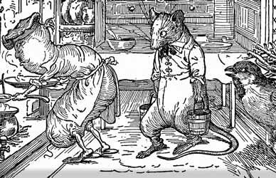 Иллюстрация к сказке Гримм О мышке, птичке и колбаске
