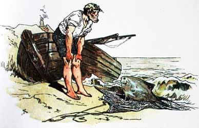 Иллюстрация к сказке Гримм О рыбаке и его жене
