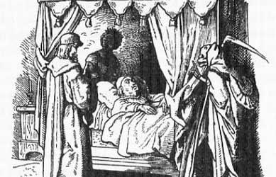 Иллюстрация к сказке Гримм Посланцы смерти