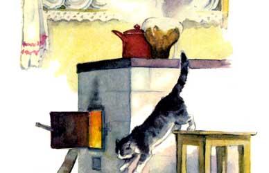 Картинка к сказке Мамина-Сибиряка Притча о молочке, овсяной кашке и сером котишке Мурке