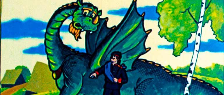 """Картинка к русской народной сказке """"Про глупого змея и умного солдата"""""""
