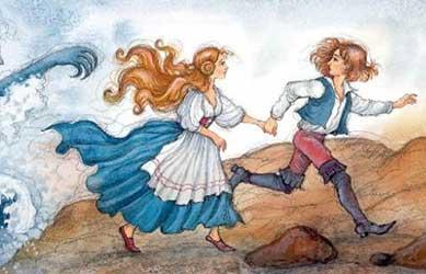 Иллюстрация к сказке Гримм Русалка в пруду