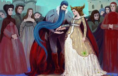 Иллюстрация к сказке Шарля Перро Синяя борода