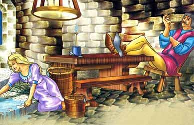 Иллюстрация к сказке братьев Гримм Синяя свечка