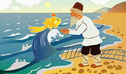 Иллюстрация к сказке о рыбаке и рыбке