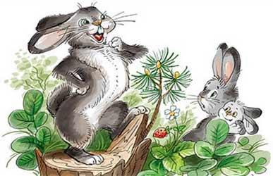 Картинка к сказке про храброго зайца длинные уши, косые глаза, короткий хвост автора Мамина-Сибиряка