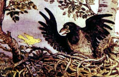 Картинка к сказке Мамина-Сибиряка Про Воронушку черную головушку