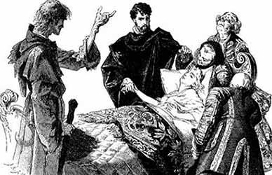 Иллюстрация к сказке братьев Гримм Смерть в кумовьях