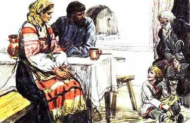Иллюстрация к сказке братьев Гримм Старый дед и внучек