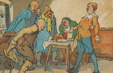 Иллюстрация к сказке братьев Гримм Столик