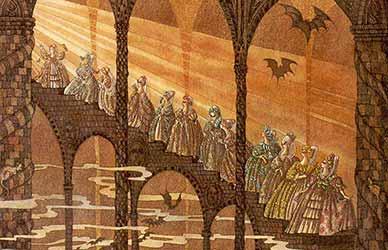 Картинка к сказке братьев Гримм Стоптанные туфельки
