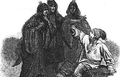 Иллюстрация к сказке братьев Гримм Три черные принцессы