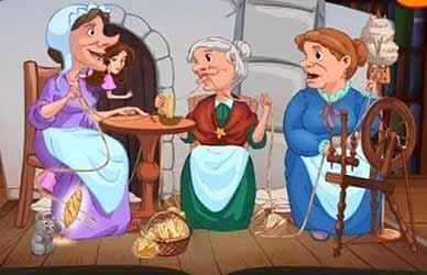 Иллюстрация к сказке братьев Гримм Три пряхи