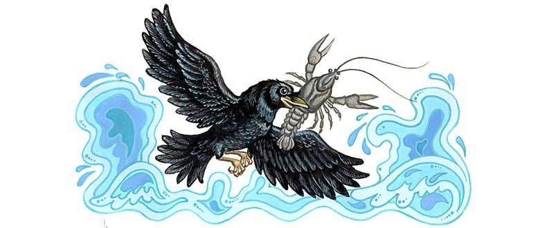 """Картинка к украинской народной сказке """"Ворона и рак"""""""